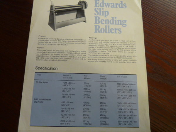 Edwards 2030 x 100mm Heavy Duty Hand Operated Bending Rolls